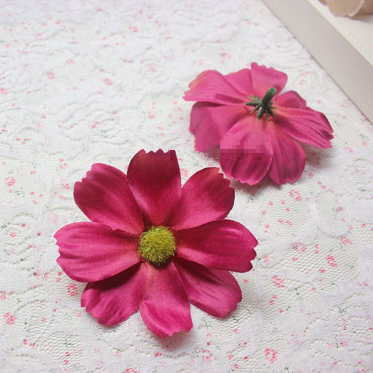 造花 コスモス 花のみ 7センチ 100個 (ボルドー)