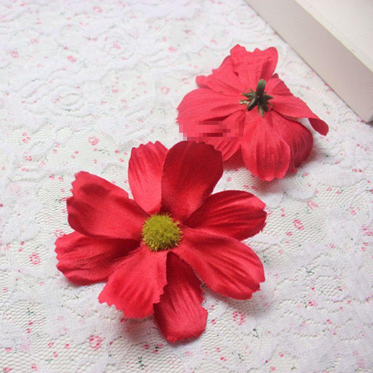 造花 コスモス 花のみ 7センチ 100個 (レッド)