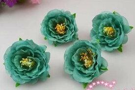 造花 ツバキ サザンカ 花のみ 5センチ 100個 (ブルーグリーン)