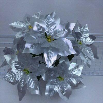 造花 ポインセチア 4本 28個の花 (シルバー)
