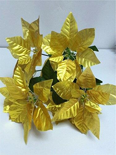 造花 ポインセチア 4本 28個の花 (ゴールド)