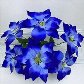 造花 ポインセチア 4本 28個の花 (ブルー)