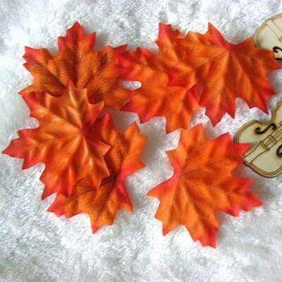 造花 楓 かえでの葉っぱ 7センチ 200枚セット (オレンジ)