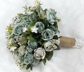 造花 ブーケ バラ 小花 ナチュラル風 麻紐&レースの持ち手 (くすみブルー)