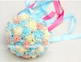 造花 ブーケ バラ パール風の装飾 花束 リボン付き (ライトブルー)