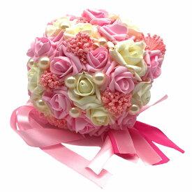 造花 ブーケ バラ パール風の装飾 花束 リボン付き (ピンク)