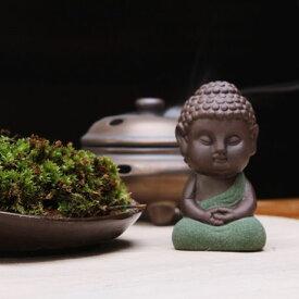 置物 茶玩 紫砂 瞑想するかわいい仏像 陶器製 (座禅B)