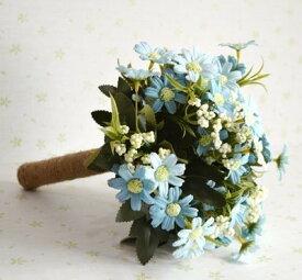 造花 ブーケ コスモス風 ナチュラル 麻紐の持ち手 (ライトブルー)