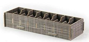 【在庫処分】名刺立て 収納ケース 木目風 組み立て式 大容量 (グレー)