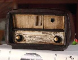 置物 ラジオ アンティーク風 レトロ雑貨 (ダークブラウン)