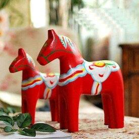 置物 お馬の親子 木製 エスニック模様 2個セット (レッド)