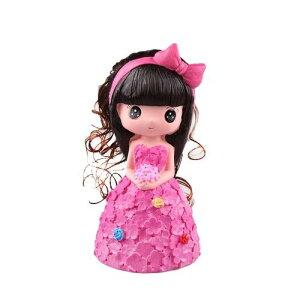 貯金箱 置物 お花のドレス プリンセス お姫様 女の子 (ローズピンク)