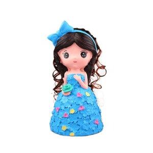 貯金箱 置物 お花のドレス プリンセス お姫様 女の子 (ライトブルー)