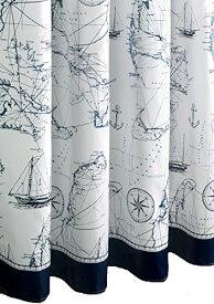 シャワーカーテン アンティーク調 航海地図風 船 イカリ