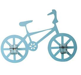 壁掛けオブジェ 自転車 小さなフラワーポット付き (ブルー)