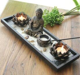 置物 キャンドルホルダー 仏様 蓮の花 アジアン風 DIYセット