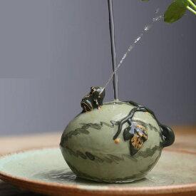置物 茶玩 水を噴くカエル 紫砂 陶磁器 (スイカ)