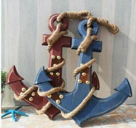 壁掛けオブジェ マリン風 いかり型 木製 (45cm, ワインレッド)