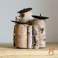 キャンドルスタンドナチュラル木製丸太風