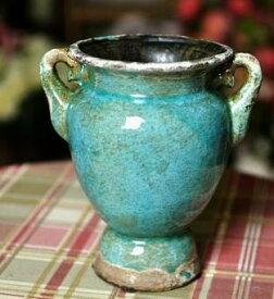 フラワーベース ヨーロピアンアンティーク風 ブルー 陶器製