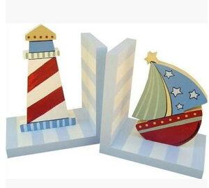 ブックエンド カラフル ヨット 灯台 2個セット