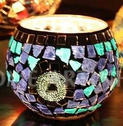キャンドルホルダー ステンドグラス風 モザイクガラス (C)