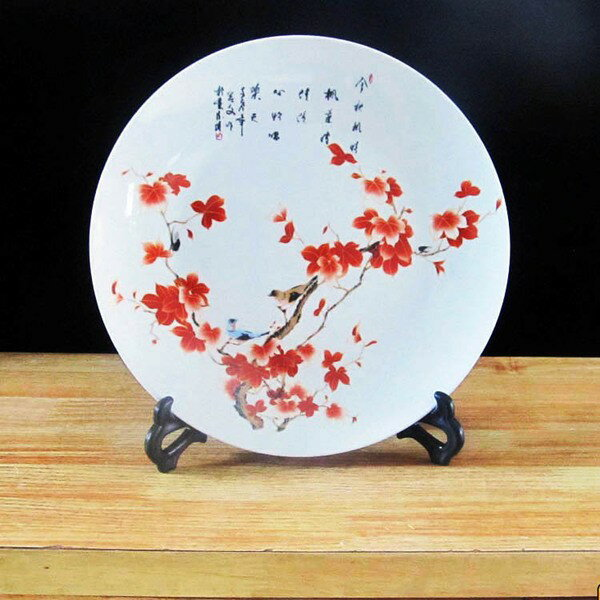 インテリアプレート 景徳鎮風 和風 白色 スタンド付き (赤い花)