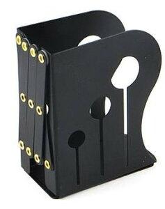 ブックエンド 伸縮タイプ シンプル アイアン製 (ブラック×小)