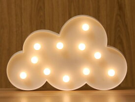 置物 LEDで光る おしゃれモチーフ シルエット風 電池式 壁掛け可 (雲)