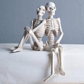 置物 ガイコツのカップル 一体型 アンティーク風