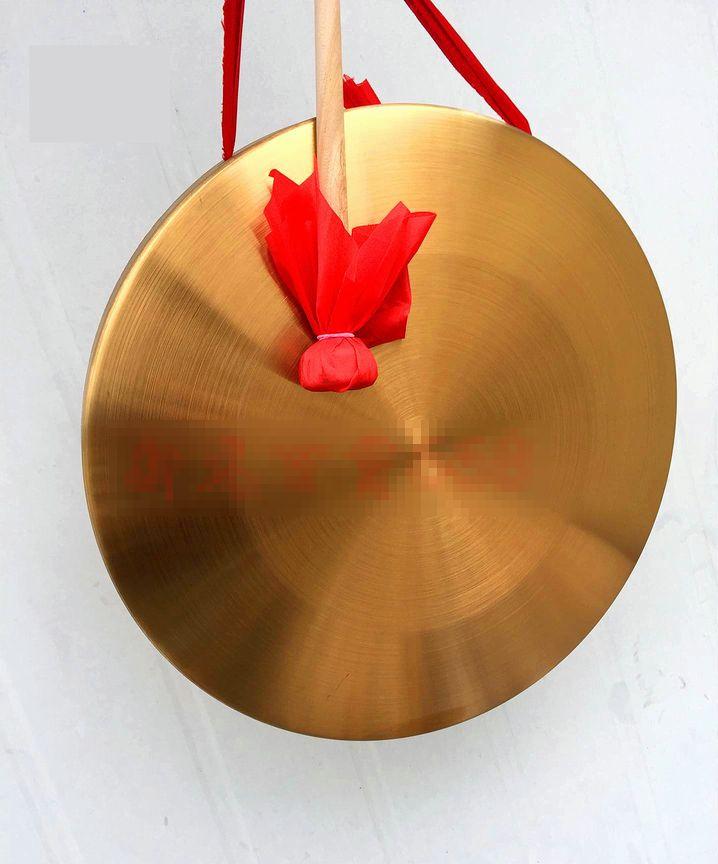 銅鑼 チャイナドラ 鳴り物 楽器 金属製 マレット付き (中)