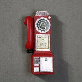 壁掛けオブジェ ビンテージ風 外国の公衆電話 ローカルコール (レッド)