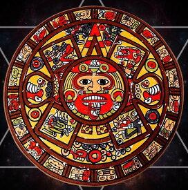 デザインマット 円形 マヤ文明 アステカ文明 マンガ風 カラフル