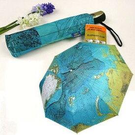 折り畳み傘 世界地図柄 晴雨兼用 (ブルー)