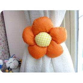 カーテンタッセル フワフワの花 2個セット (オレンジ)
