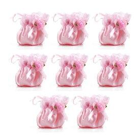 イス足カバー シルク製 リボン 2脚分 8個セット (ピンク)