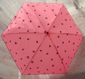 折り畳み傘 スカル ネオンカラー 5つ折り 晴雨兼用 (ピンク)