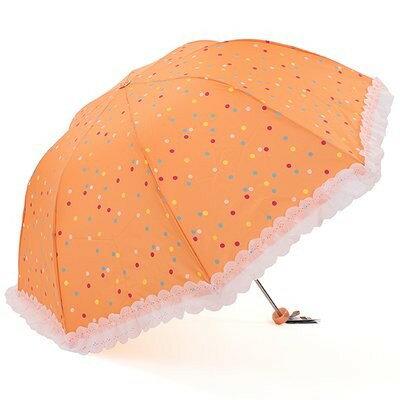 折り畳み傘 パステルカラーのドット フリル付 晴雨兼用 (オレンジ)