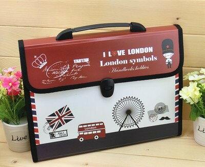 ファイルケース バッグ型 I LOVE LONDON A4 仕切り付き (Aタイプ)