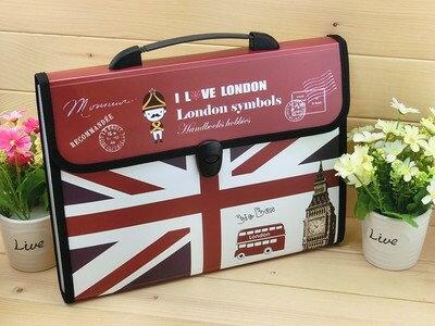 ファイルケース バッグ型 I LOVE LONDON A4 仕切り付き (Cタイプ)