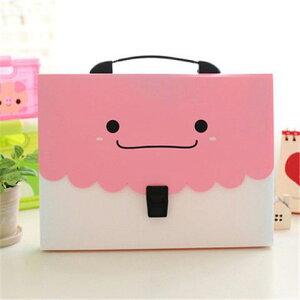 ファイルケース バッグ型 パステルカラー ニッコリ A4 仕切り付き (ピンク)