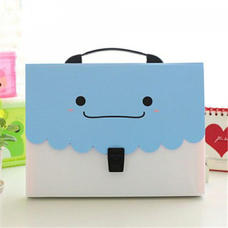 ファイルケース バッグ型 パステルカラー ニッコリ A4 仕切り付き (ブルー)