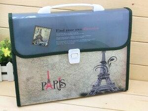 ファイルケース バッグ型 エッフェル塔 A4 仕切り付き (グリーン)