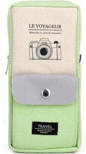 ペンケース パステルカラー シンプル カメラ ポケット付き (ライトグリーン)