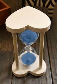 砂時計 30分計 ハート型木製枠 (白枠×ブルー)