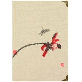 ノート 和風デザイン モダン 赤い蓮とトンボ 布表紙 B6サイズ (A)