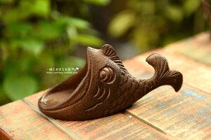 ガーデンオブジェ 灰皿 大きなお口の魚 フィッシュ 鋳鉄製