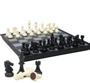 チェスセット チェス盤 磁石式 コンパクトサイズ 折りたたみ式 (ホワイト×ブラック)