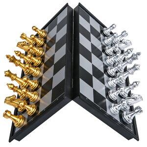 チェスセット チェス盤 磁石式 コンパクトサイズ 折りたたみ式 (ゴールド×シルバー)