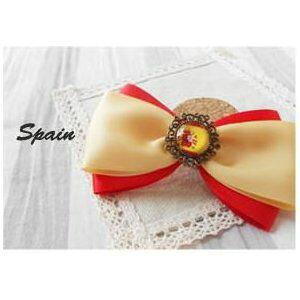 【在庫処分】ブローチ リボン 国旗ボタン付き (スペイン) 【送料無料】
